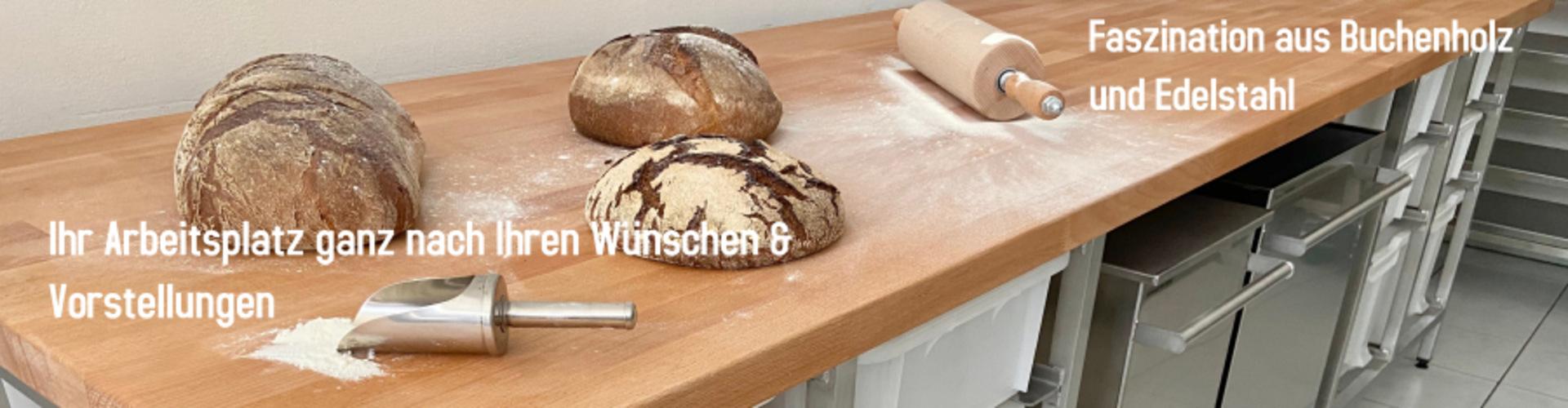 MBM Lambeck Buchenholztische aus Edelstahl
